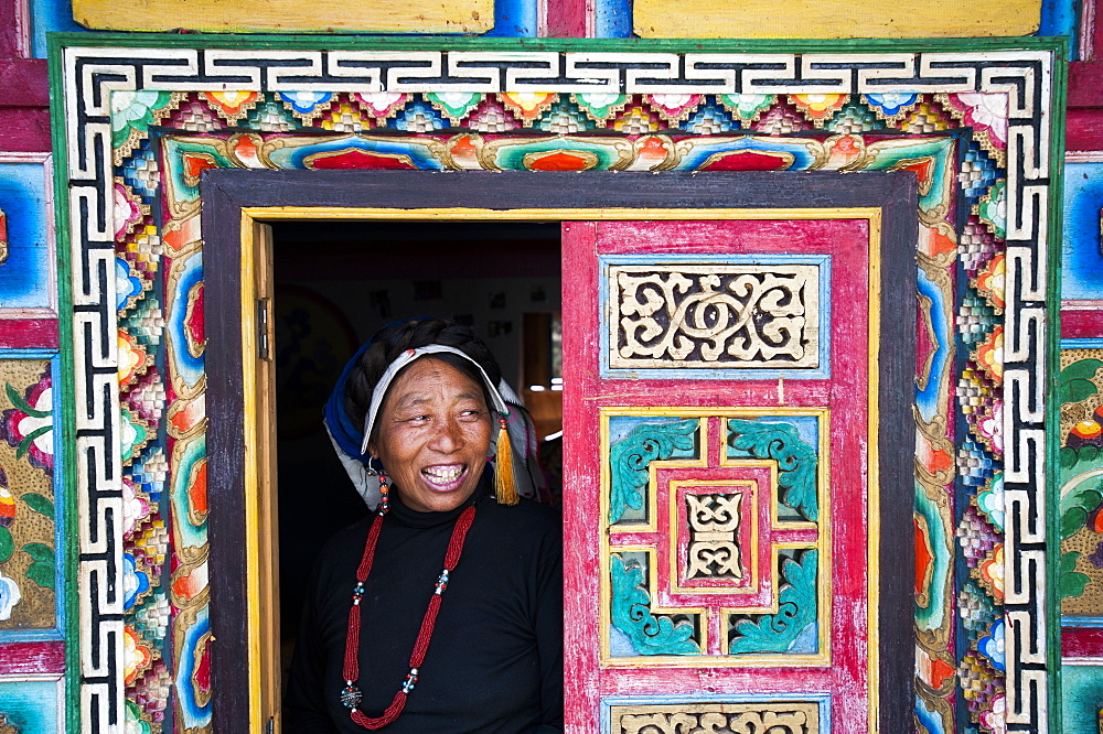 A decorative Tibetan house in a remote Tibetan village called Jiaju Zangzhai, Sichuan Province, China, Asia