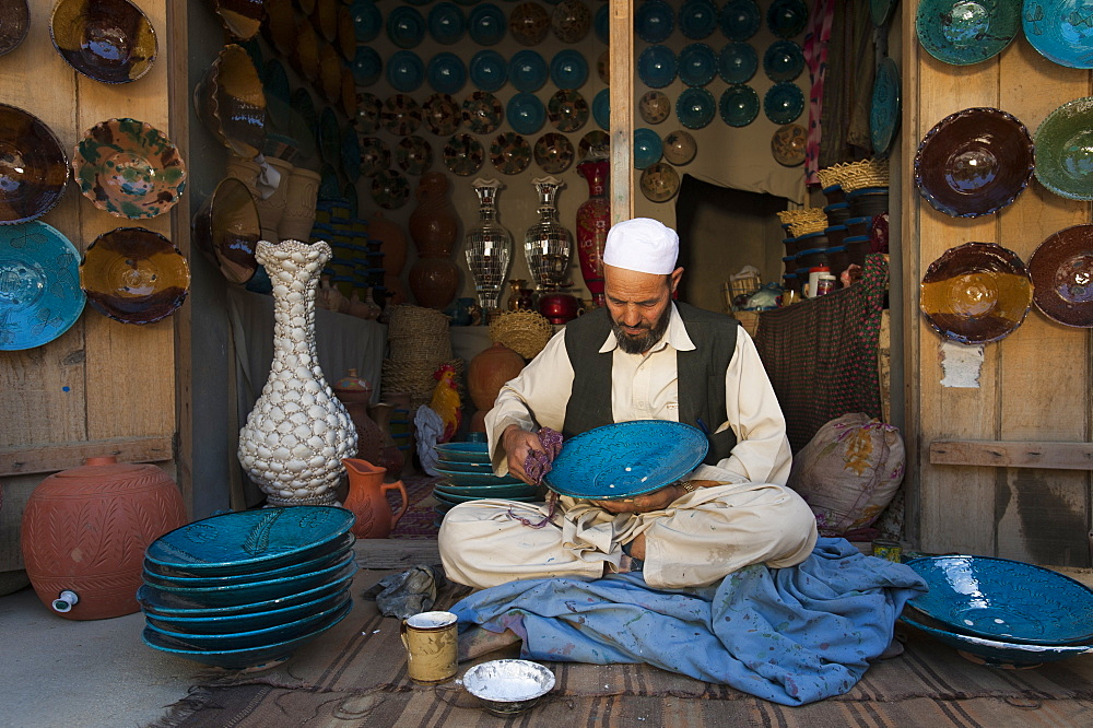 Istalif is famous for its handmade glazed clay pottery, Panjshir Province, Afghanistan, Asia