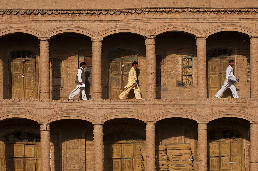 Men walking through the old market in Herat in Afghanistan