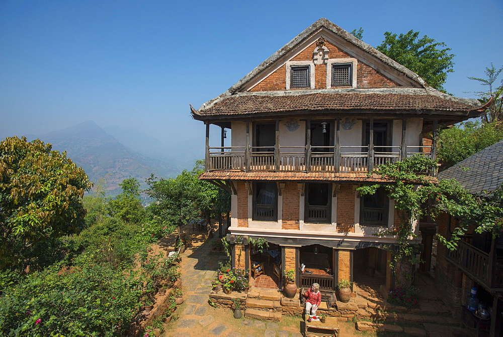 An historic Newari farmhouse in the traditional village of Nuwakot, Langtang Region, Nepal, Asia