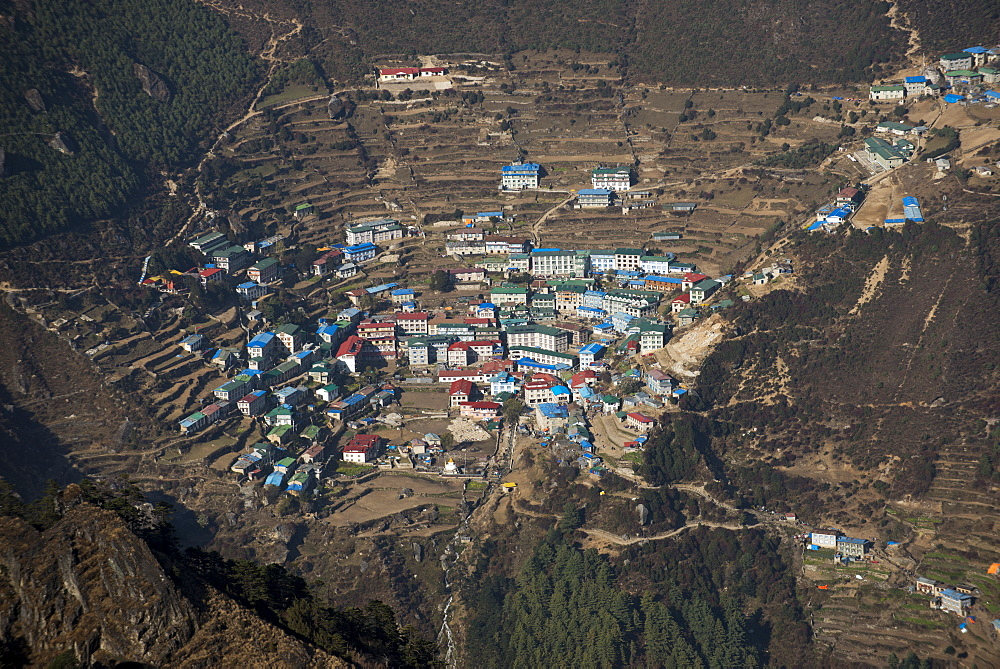 A view from Kongde looking down on Namche, the biggest village in Khumbu, the Everest region, Nepal, Asia