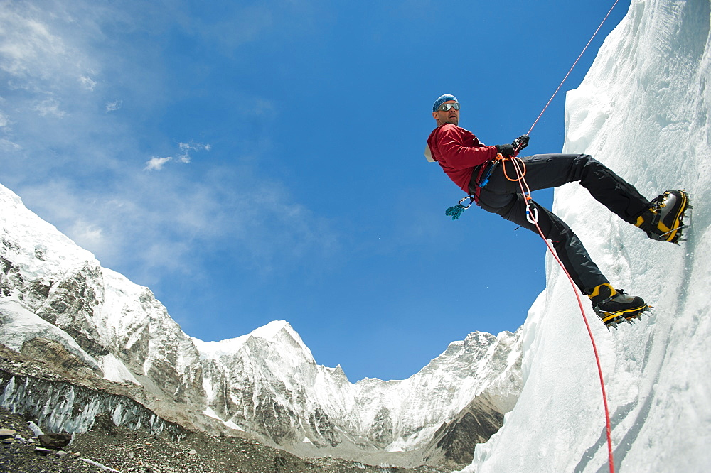 Climbing practise near Everest base camp in Nepal