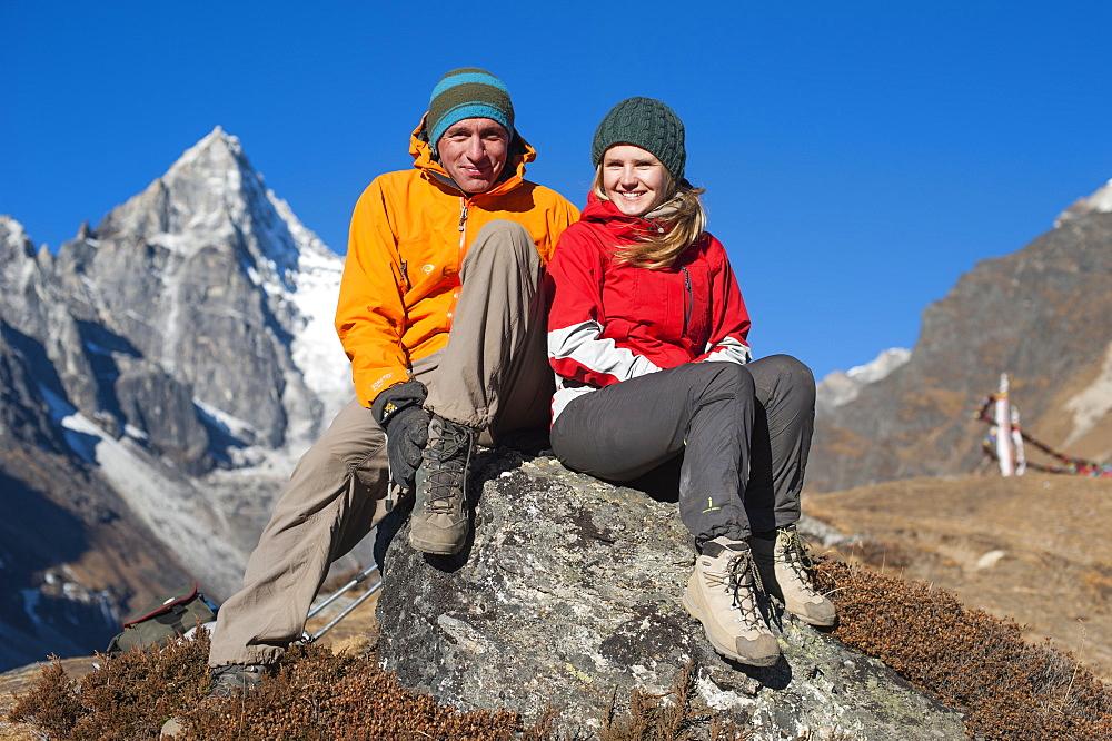Trekkers enroute to Everest base camp in Nepal take a break