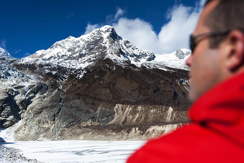 Looking towards the summit of Manaslu South in Nepal