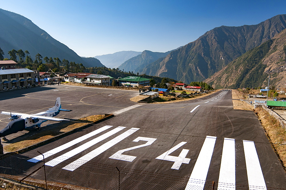 The airstrip at Lukla in the Everest region of Nepal, Asia