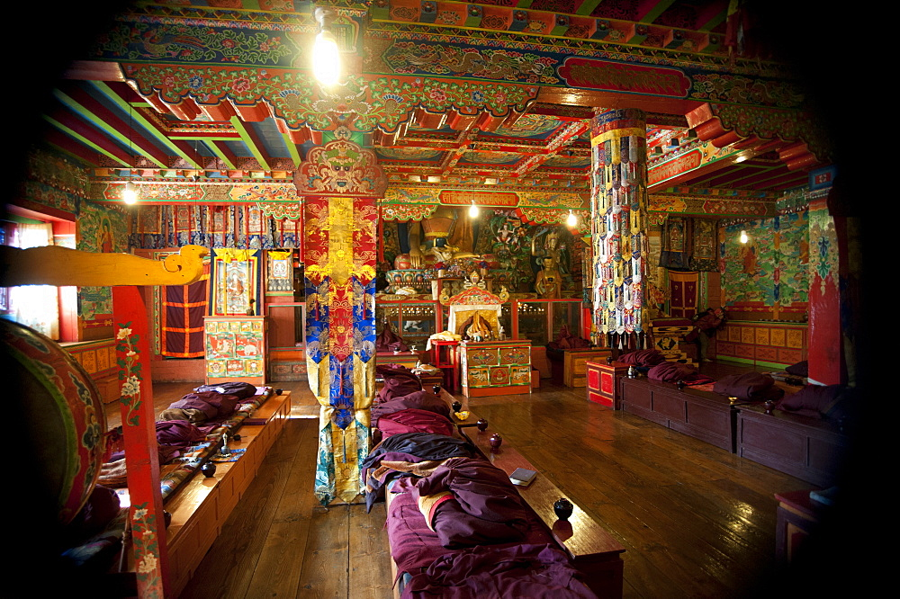 Inside the Buddhist monastery at Tengboche in the Everest region, Khumbu, Nepal, Asia