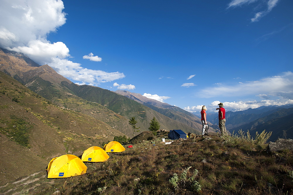 Camped in the Juphal valley in Dolpa, a remote region, Nepal, Asia