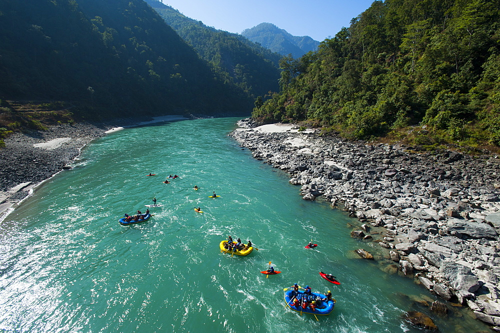 A rafting expedition on the Karnali River, west Nepal, Asia