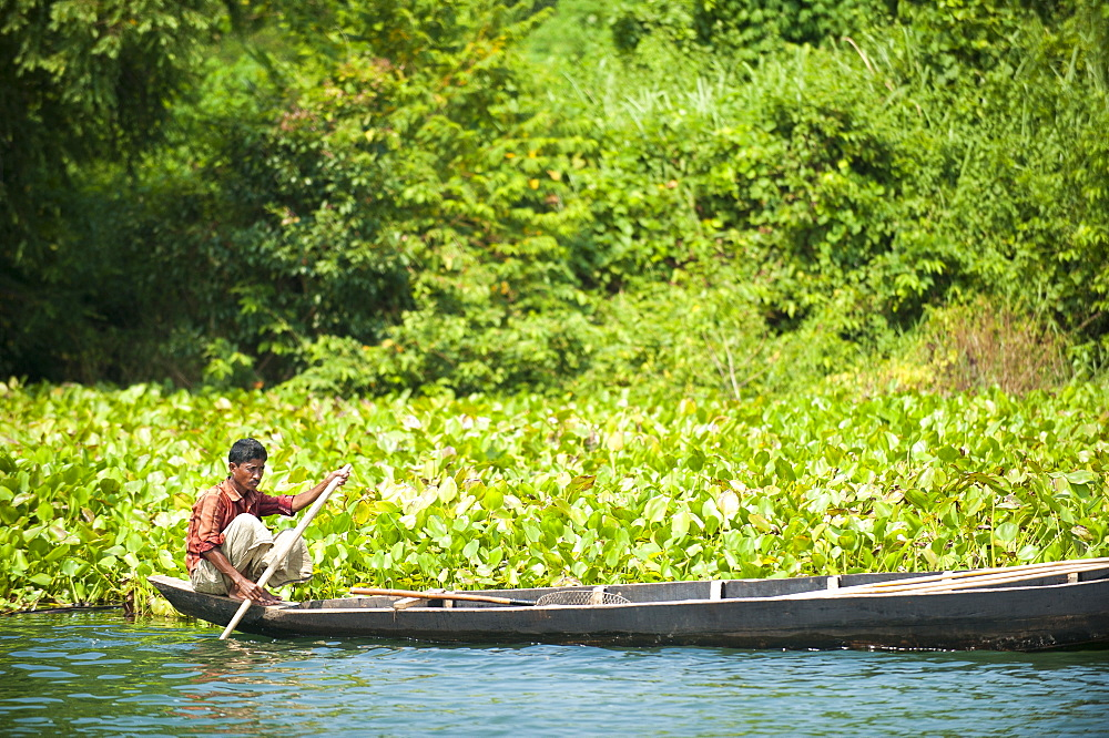 A fisherman on Kaptai Lake, Chittagong Hill Tracts, Bangladesh, Asia