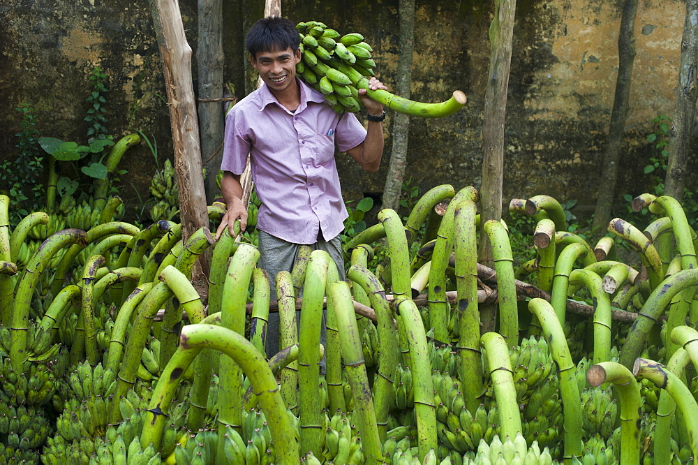 A man sells bananas in a small village in Rangamati, Chittagong Hill Tracts, Bangladesh, Asia