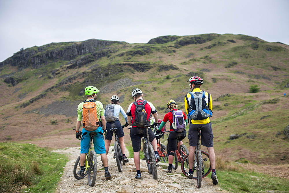 Mountain bikers stop to consider their route around Loughrigg Fell in the Lake District National Park, Cumbria, England, United Kingdom, Europe