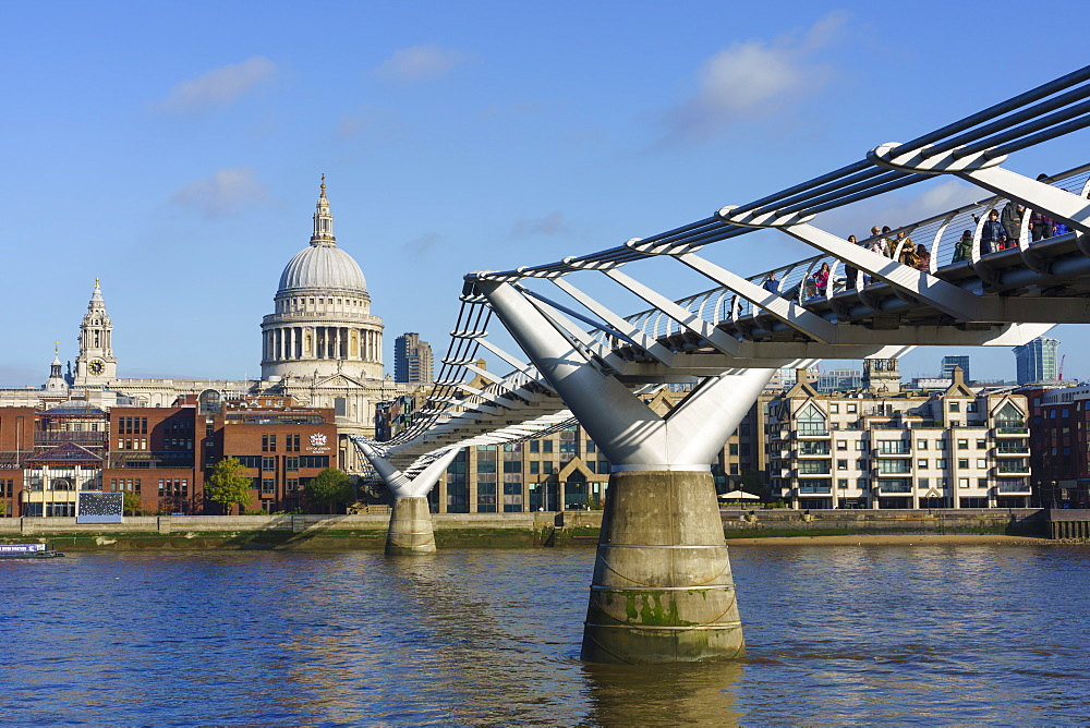 Millennium Bridge with St. Paul's Cathedral, London, England, United Kingdom, Europe