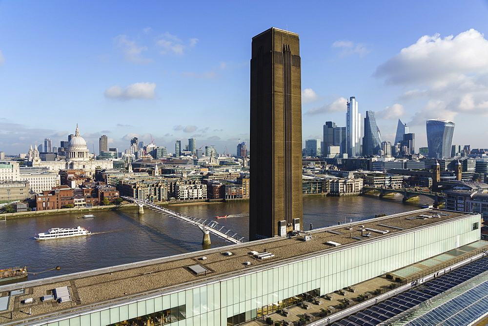City of London skyline with Tate Modern art gallery in the foreground, London, England, United Kingdom, Europe