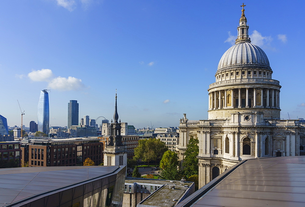 St. Paul's Cathedral and city skyline from One New Change, London, England, United Kingdom, Europe