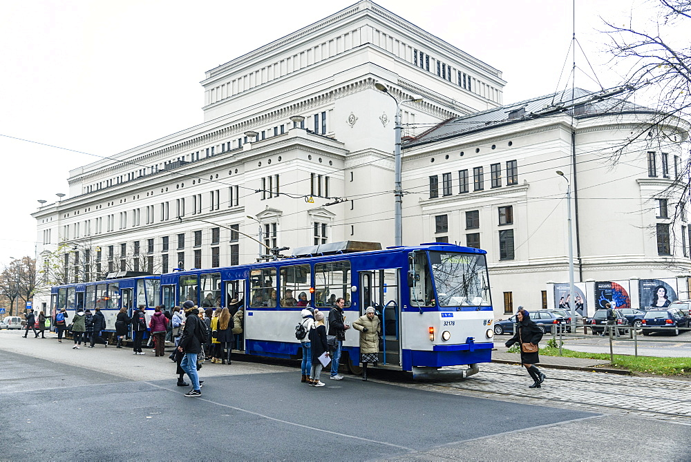 Tram outside Latvian National Opera picking up passengers, Riga, UNESCO World Heritage Site, Latvia