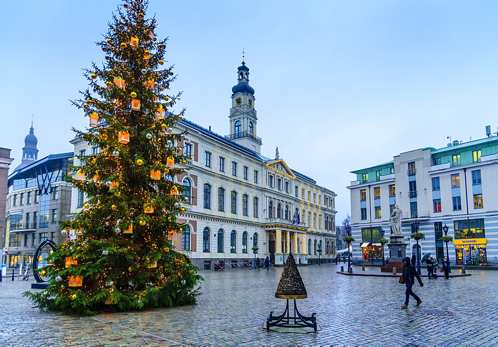 Christmas tree in Town Hall Square, Riga, UNESCO World Heritage Site, Latvia