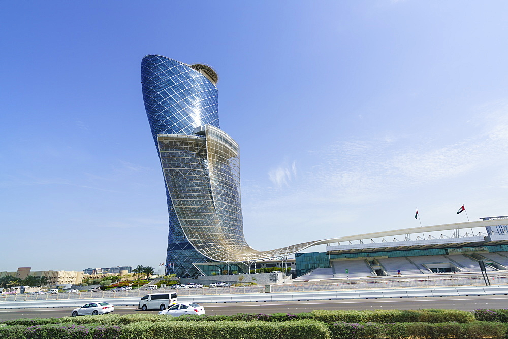 Capital Gate, sometimes called the leaning tower of Abu Dhabi, United Arab Emirates, Middle East