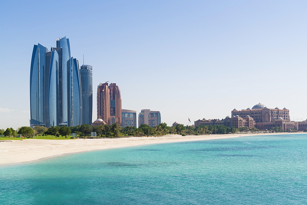 Etihad Towers, Emirates Palace Hotel and beach, Abu Dhabi, United Arab Emirates, Middle East