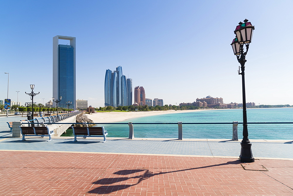 View from the Breakwater towards Abu Dhabi Oil Company HQ and Etihad Towers, Abu Dhabi, United Arab Emirates, Middle East