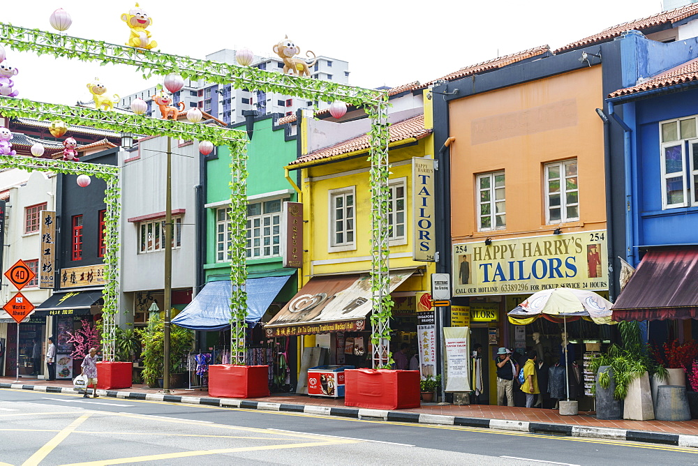 Colourful shophouses in South Bridge Road, Chinatown, Singapore, Southeast Asia, Asia