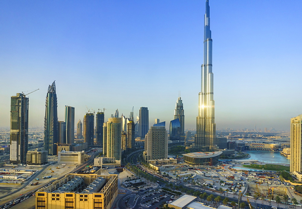 Burj Khalifa and Downtown Dubai, Dubai, United Arab Emirates, Middle East