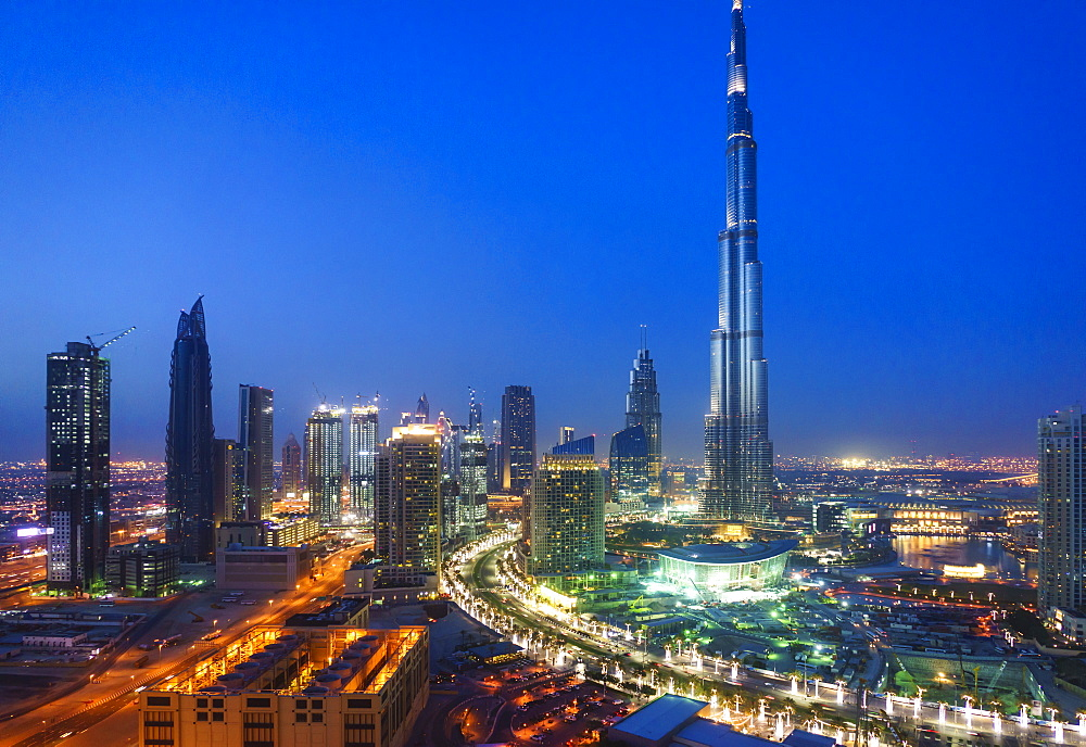Burj Khalifa and Downtown Dubai at night, Dubai, United Arab Emirates, Middle East