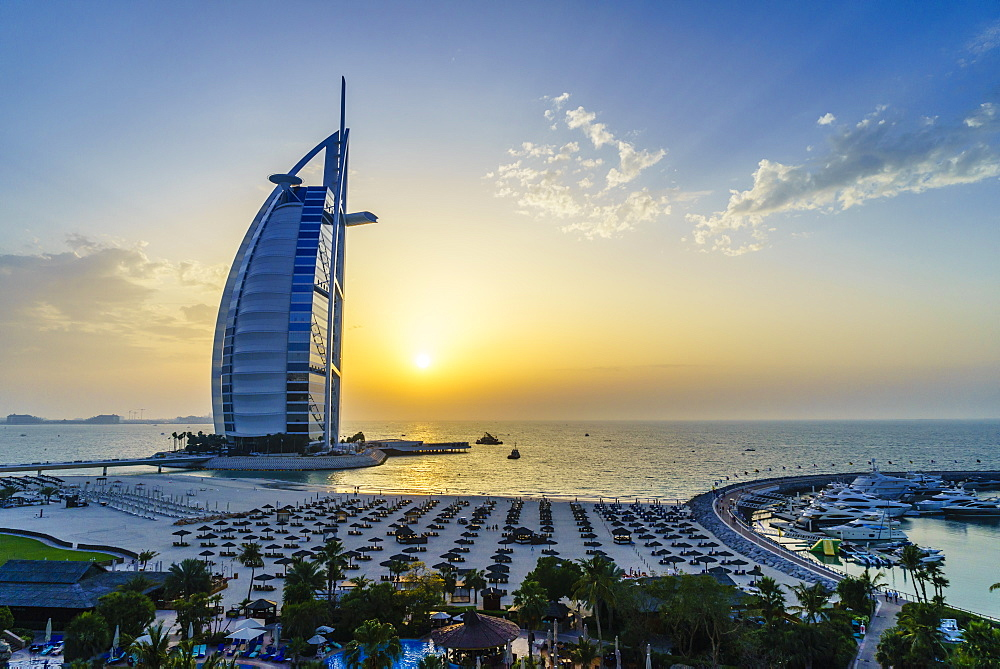Burj Al Arab, Jumeirah Beach at sunset, Dubai, United Arab Emirates, Middle East