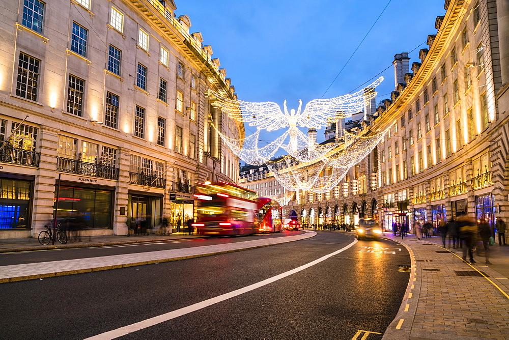 Festive Christmas lights in Regent Street, London, England