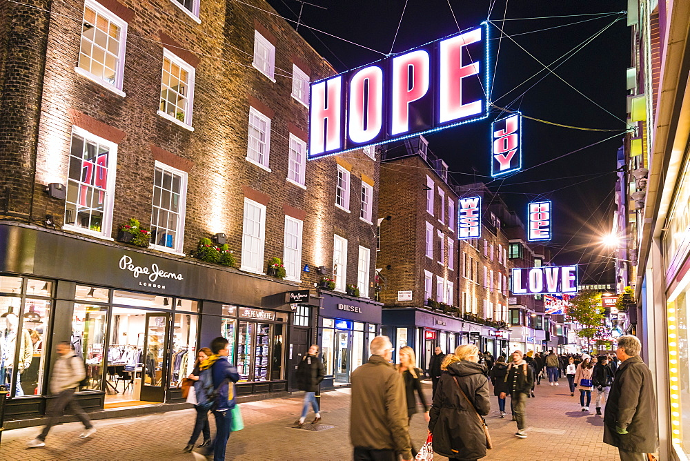 Alternative festive Christmas lights in Carnaby Street, Soho, London, England, United Kingdom, Europe