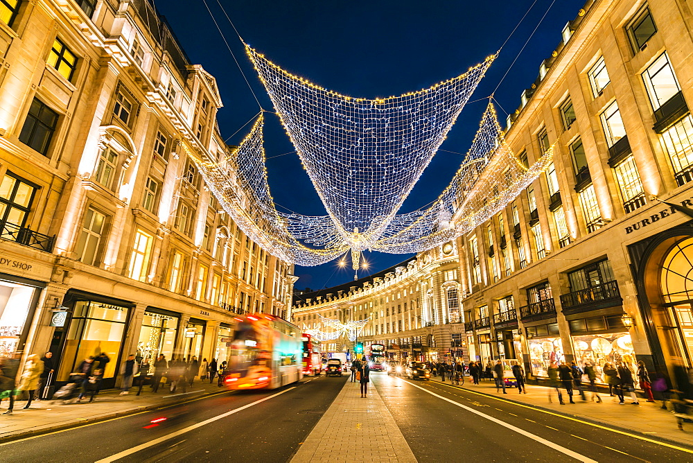 Festive Christmas lights in Regent Street in 2016, London, England, United Kingdom, Europe