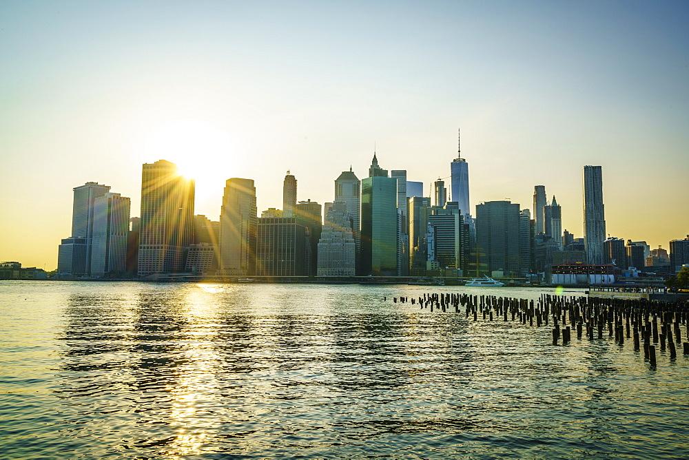 Manhattan skyline at sunset, New York City, United States of America, North America