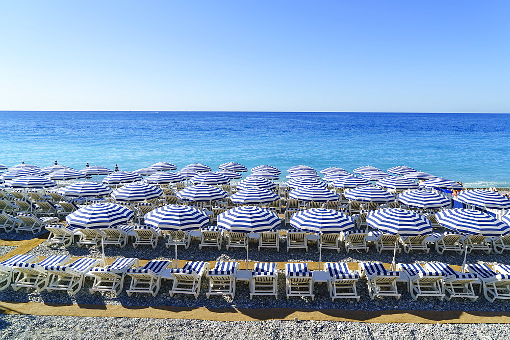Blue and white beach parasols, Nice, Alpes-Maritimes, Cote d'Azur, Provence, French Riviera, France, Mediterranean, Europe - 1226-279