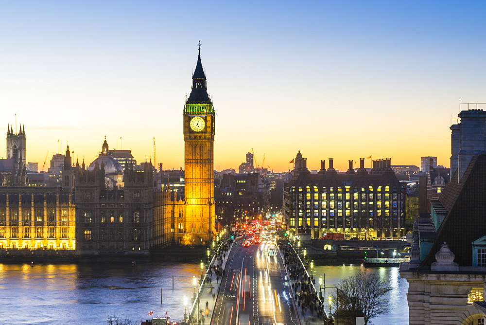 High angle view of Big Ben, the Palace of Westminster and Westminster Bridge at dusk, London, England, United Kingdom