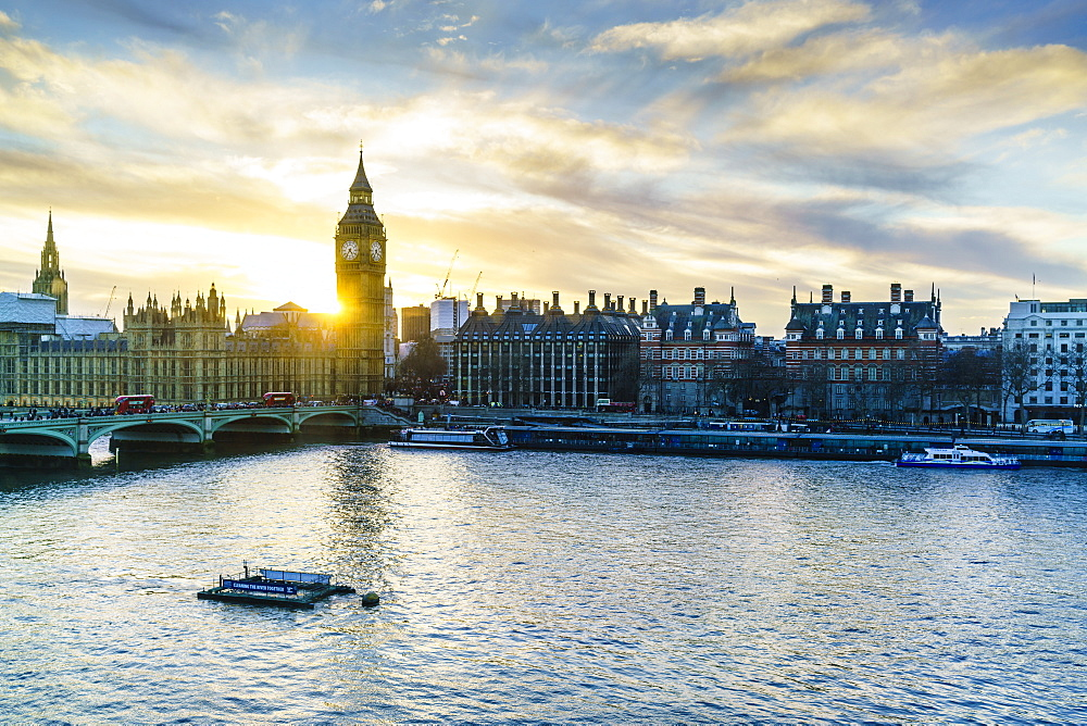 Big Ben (the Elizabeth Tower) and Westminster Bridge at sunset, London, England, United Kingdom, Europe