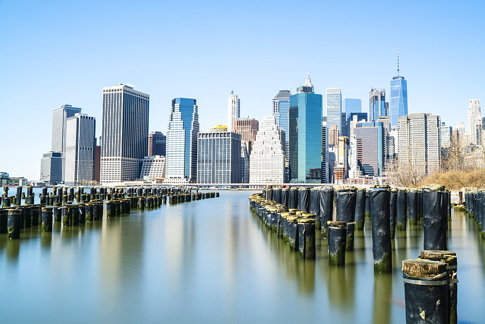 Lower Manhattan skyline viewed from Brooklyn side of East River, New York City, USA