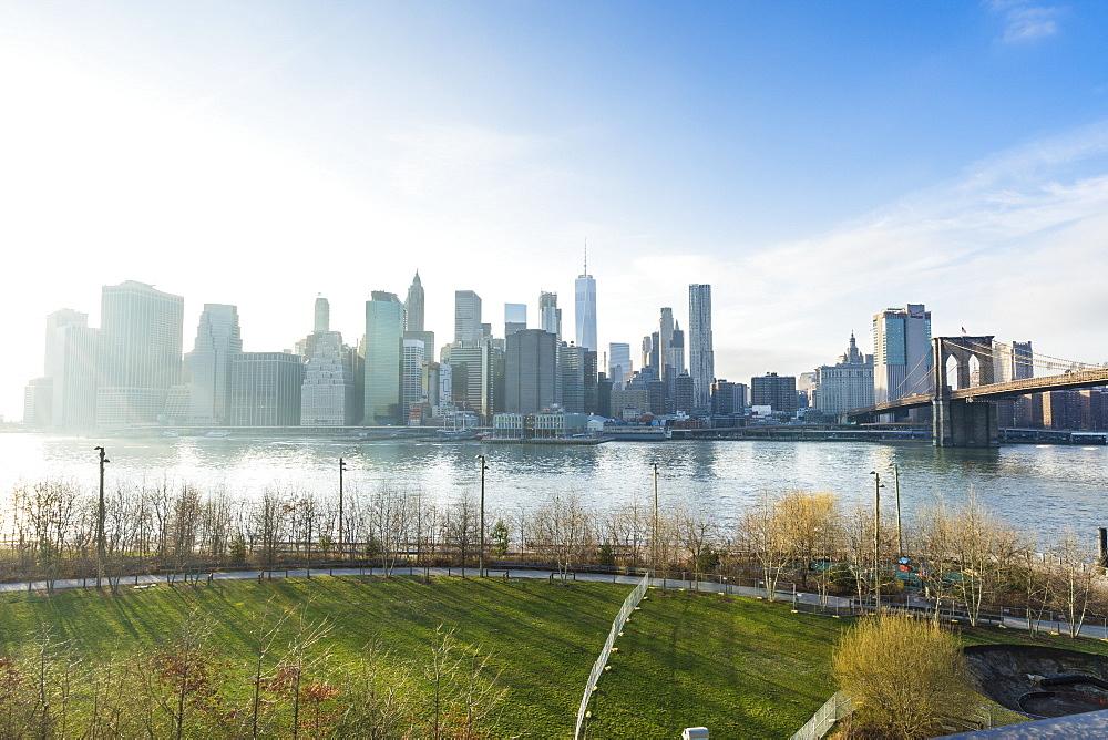 Lower Manhattan skyline and Brooklyn Bridge, New York City, United States of America, North America