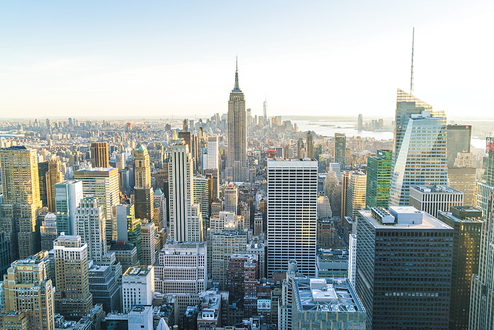 Manhattan skyline and Empire State Building, New York City, United States of America, North America