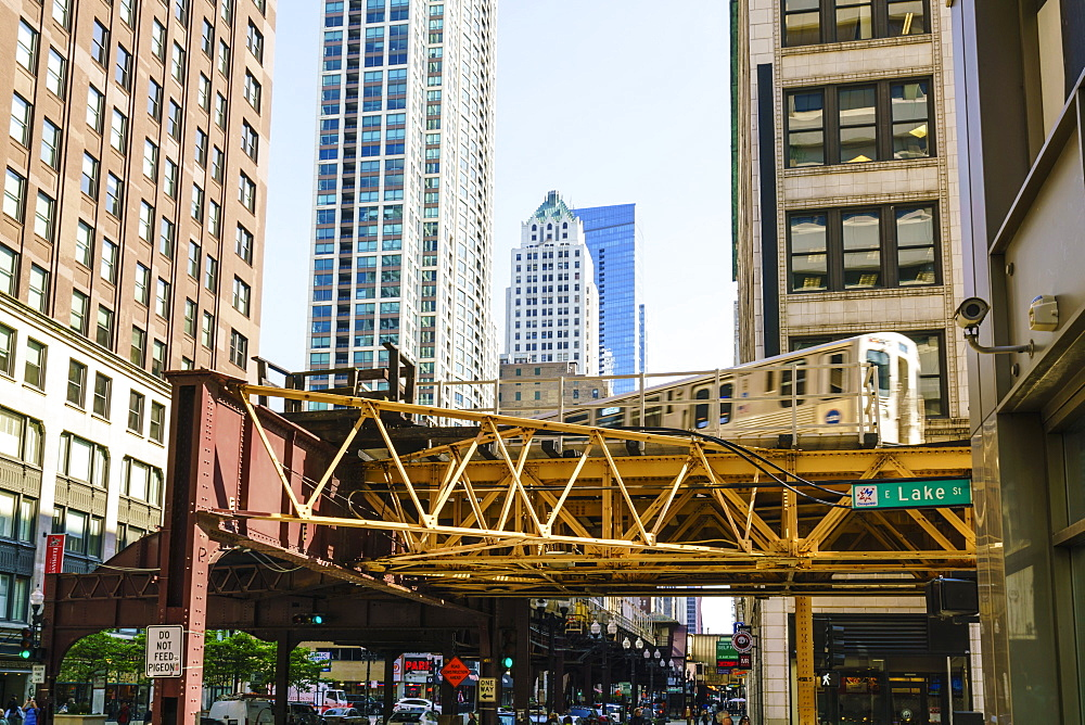 CTA train on the Loop track which runs above ground in downtown Chicago, Illinois, United States of America, North America