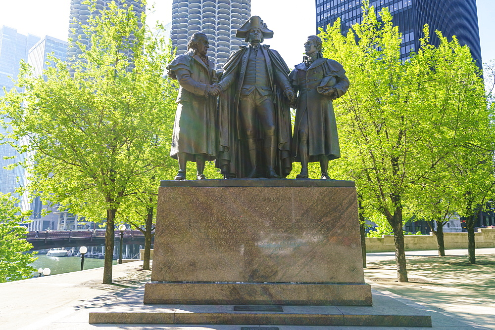 Robert Morris, George Washington, Haym Salomon Memorial statue stands by the Chicago River, Chicago, Illinois