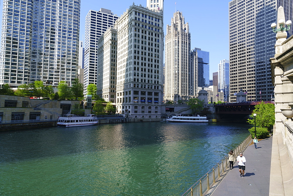 Chicago River Walk, Chicago, Illinois, United States of America, North America