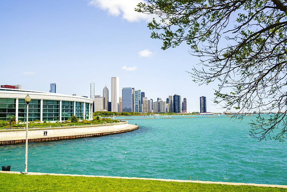 Shedd Aquarium, Lake Michigan and city skyline beyond, Chicago, Illinois, United States of America, North America