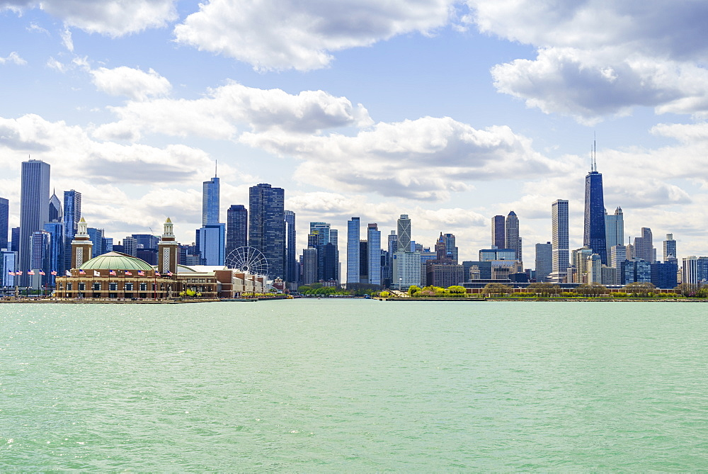 Chicago skyline and Navy Pier from Lake Michigan, Chicago, Illinois, United States of America, North America