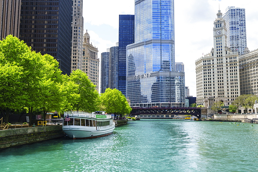 Chicago River with Trump Tower and Wrigley Building, Chicago, Illinois, United States of America, North America
