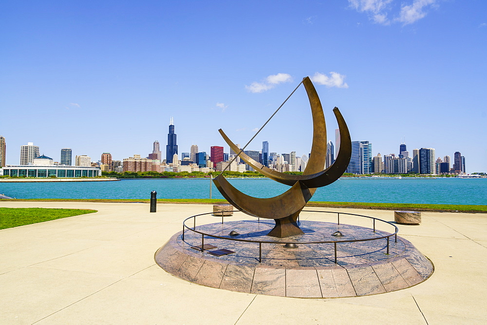 The Adler Planetarium sundial with Lake Michigan and city skyline beyond, Chicago, Illinois