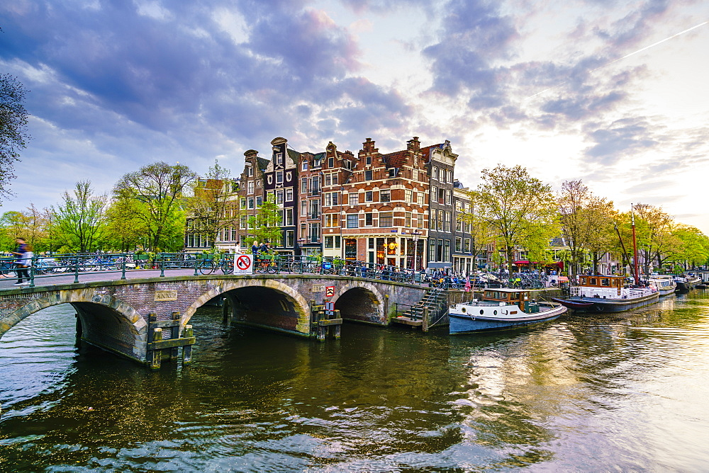Traditional Dutch gabled houses and canal, Amsterdam, Netherlands, Europe - 1226-438