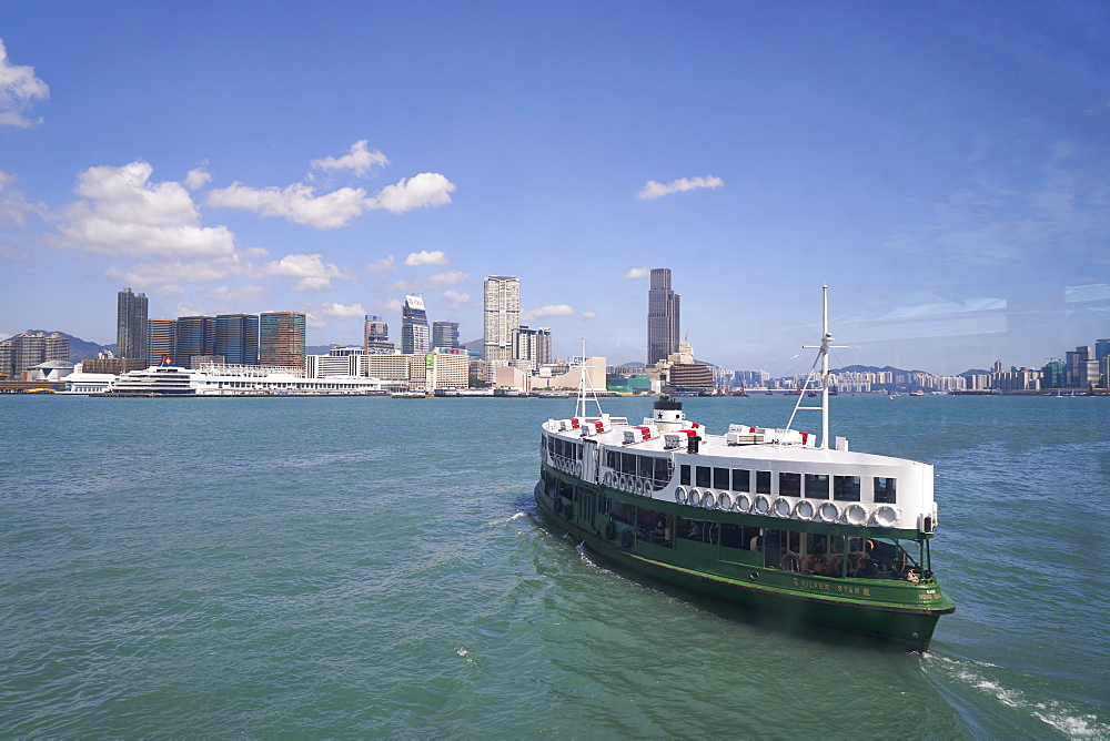 Star Ferry sailing towards the Kowloon side of Victoria Harbour, Hong Kong, China, Asia