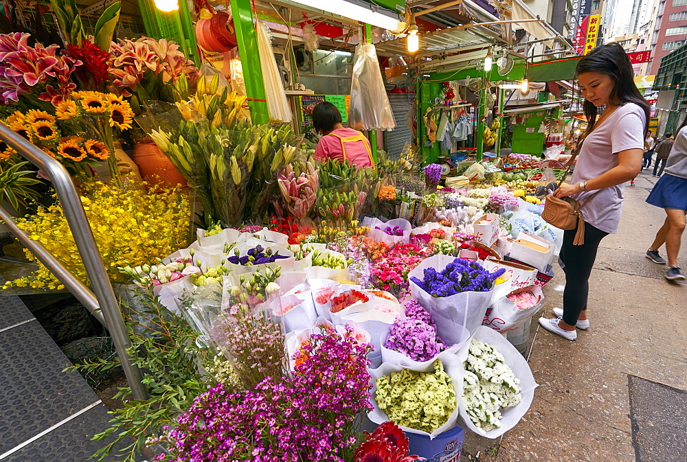 Colourful flower shop in the Mid Levels, Hong Kong Island, Hong Kong, China, Asia