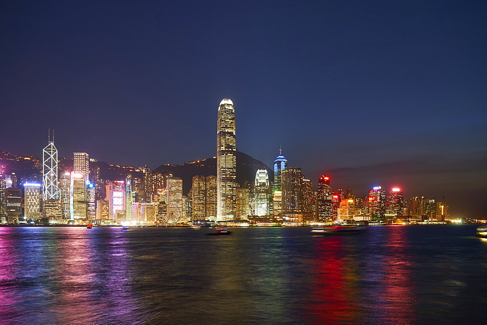 City skyline at night of the financial centre on Hong Kong Island with Bank of China Tower and Two International Finance Centre (2IFC), Hong Kong, China, Asia