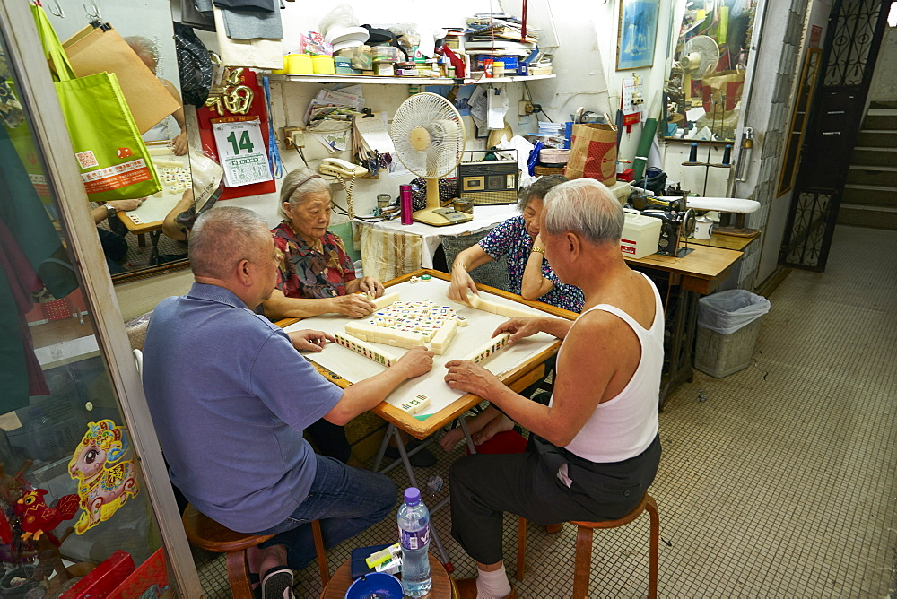 Elderly couples playing Mahjong, Hong Kong, China, Asia