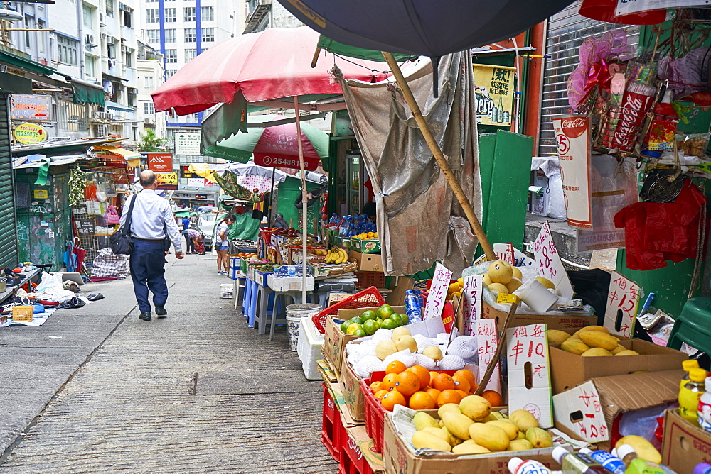 A small market street in the Mid-Levels area, Hong Kong Island, Hong Kong, China, Asia